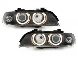BMW 5 Series E39 95-00 Xenon HID Headlights with Angel Eyes Facelift LCI Design - SWB07DBHID