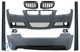 Body Kit BMW 3 Series E90 (2005-2008) M-Technik Design with Grilles Double Stripe M Design Piano Black - COCBBME90MTGDPB