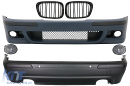 Body Kit BMW 5 Series E39 (1997-2003) Double Outlet M5 Design with PDC+Grog Lights Chrom and Central Grilles Piano Black - COCBBME39M5DOPG