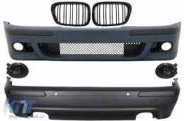 Body Kit BMW 5 Series E39 (1997-2003) Double Outlet M5 Design with PDC+Fog Lights Smoke ang Central Grilles Piano Black - COCBBME39M5DOPSG