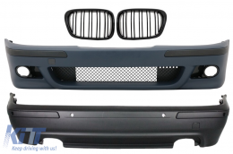 Body Kit BMW E39 5 Series (1997-2003) M5 Design with Central Grille Double Stripe Piano Black - COFBBME39M5WFRB