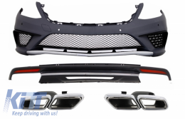 Body Kit Bumper Diffuser suitable for Mercedes Benz W222 S-Class (2013-06.2017) Exhaust Muffler Tips S63 Design - COCBMBW222AMGS63BTYWOL
