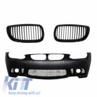 Body kit Bumper Grilles 3 Color Kidney BMW 3 E92 E93 06-09 M3 Design PDC SRA Shiny Black/Matte Interior M-Performance - COFBBME92M3PWFPB
