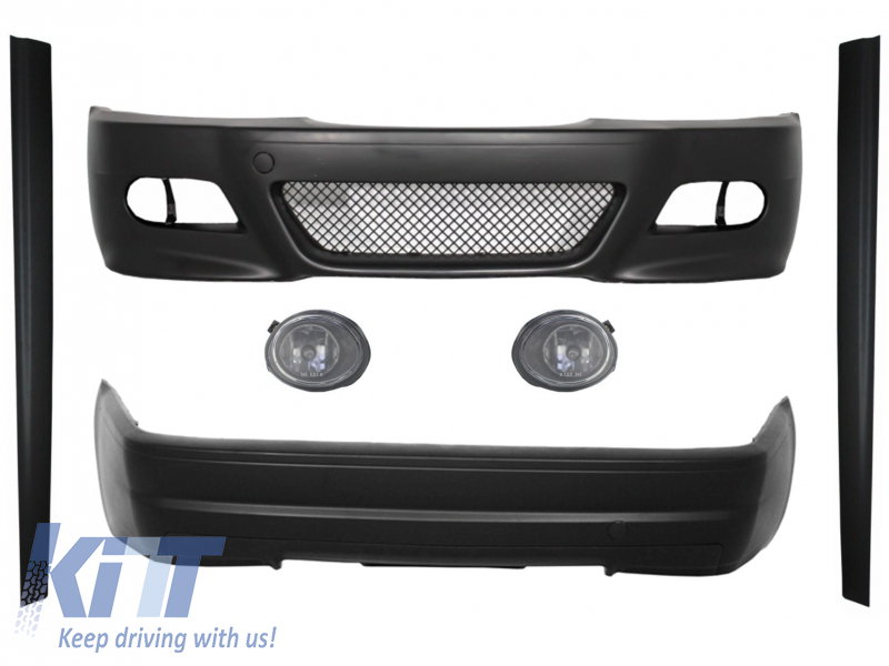 Body Kit Bumpers Suitable For Bmw E46 1998 2004 M3 Csl Design With Fog Lights Clear Chrome