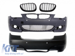 Body Kit Front and Rear Bumper suitable for BMW 5 Series E60 (2007-2010) with Central Kidney Grilles LCI M5 Design with PDC 18mm - COCBBME60M5P18FG