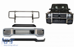 Body Kit Front Bumper with Bullbar Spoiler LED DRL Extension suitable for MERCEDES G-Class W463 (1989-2017) A-Design - COFBMBW463AMGBBK
