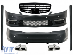 Body Kit LWB suitable for Mercedes S-Class W221 (2005-2011) with Central Grille Piano Black and Exhaust Muffler Tips Tail Pipes - COCBMBW221AMGFE63