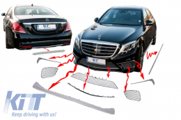 Body Kit Package Ornaments Chrome Moldings suitable for Mercedes S-Class W222 (2013-up) S65 Design - CPMBW222CH
