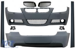 Body Kit suitable for BMW 3 Series E90 (2005-2008) M-Technik Design with Grilles Black - COCBBME90MTGB