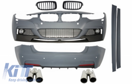 Body Kit suitable for BMW F30 11+ M-Performance Design + Exhaust Muffler Tips + Front Grilles Piano Black - COCBBMF30TYMPB