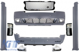 Body Kit suitable for Land Range Rover Vogue L322 (2002-2012) Black/Silver Grille Edition Autobiography Design - CBRRVL322BS