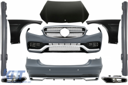 Body Kit suitable for MERCEDES Benz W212 E-Class Facelift (2013-up) E63 AMG Design with Exhaust Muffler Tips - COCBMBW212FAMGCS65