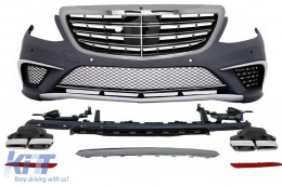 Body Kit suitable for MERCEDES Benz W222 S-Class (2013-up) S63 AMG Design With Central Grille Chrome - COCBMBW222AMGSC