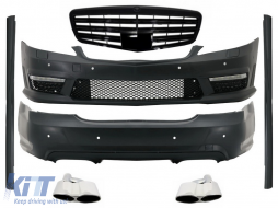 Body Kit suitable for Mercedes S-Class W221 (2005-2011) with Front Grille Piano Black and Exhaust Muffler Tips - COCBMBW221AMGFS65