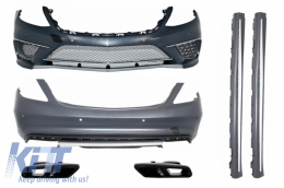 Body Kit suitable for Mercedes S-Class W222 with Exhaust Muffler Tips and Side Skirts Long Version (2013-06.2017) S65 Design - COCBMBW222AMGS65W222B