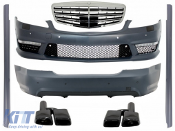 Body Kit suitable for Mercedes W221 S-Class (2005-2011) S63 S65 Design with Front Grille and Exhaust Muffler Tips - COCBMBW221S65NBFG