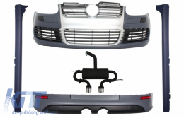 Body Kit suitable for VW Golf 5 V (2003-2007) R32 Brushed Aluminium Look Grille With Complete Exhaust System - COCBVWG5R32ESA