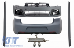 Body Kit suitable for VW Golf VI 6 MK6 (2008-2013) R20 Design with Side Skirts and Complet Exhaust System Catback Muffler