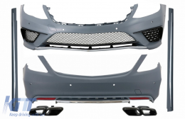 Body Kit with Exhaust Muffler Tips Black suitable for Mercedes S-Class W222 (2013-06.2017) S63 Design
