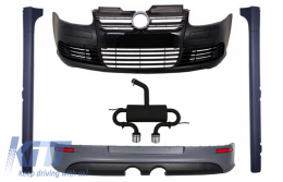 Body Kit  suitable for VW Golf 5 V R32 Piano Glossy Black Grill (2003-2007) With Complete Exhaust System - COCBVWG5R32ESB