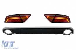 Bumper Air Diffuser & Exhaust Tips with LED Taillights suitable for AUDI A7 4G (2010-2014) RS7 Design - CORDAUA74GTL