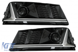 Bumper Lower Grille ACC Covers Side Grilles suitable for Audi A4 B9 Sedan Avant (2016-2018) RS4 Design Silver Edition - SGAUA4B9NS