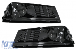 Bumper Lower Grille ACC Covers Side Grilles suitable for Audi A4 B9 Sedan Avant (2016-2018) RS4 Design Black Edition - SGAUA4B9NB