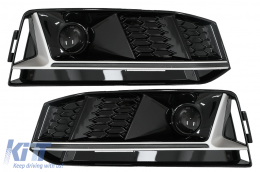 Bumper Lower Grille ACC Covers Side Grilles suitable for Audi A4 B9 S-Line Sedan Avant (2016-2018) RS4 Design Silver Edition - SGAUA4B9SS