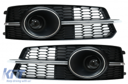 Bumper Lower Grille ACC Covers Side Grilles suitable for Audi A6 C7 4G S Line Facelift (2015-2018) Chrome Edition - SGAUA64GFSWH