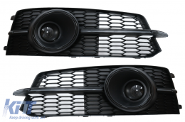 Bumper Lower Grille ACC Covers Side Grilles suitable for Audi A6 C7 4G S Line Facelift (2015-2018) Black Edition - SGAUA64GFBWH