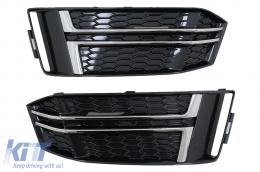 Bumper Lower Grille Covers Side Grilles suitable for Audi A4 B9 Sedan Avant (2016-2018) S-Line Silver Edition - SGAUA4B9SOE
