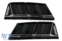 Bumper Lower Grille Covers Side Grilles suitable for Audi A4 B9 Sedan Avant (2016-2018) RS4 Design Silver Edition - SGAUA4B9NSWO