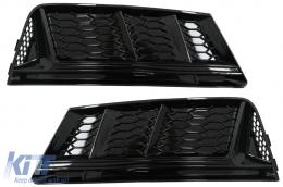 Bumper Lower Grille Covers Side Grilles suitable for Audi A4 B9 Sedan Avant (2016-2018) RS4 Design Black Edition - SGAUA4B9NBWH
