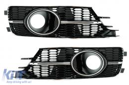 Bumper Lower Grille Covers Side Grilles suitable for AUDI A6 C7 4G Facelift (2015-2018) Piano Black & Chrome - SGAUA64GFN