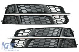 Bumper Lower Grille Covers Side Grilles suitable for Audi A6 C7 4G S-Line Facelift (2015-2018) Black Chrome - SGAUA64GFBWO