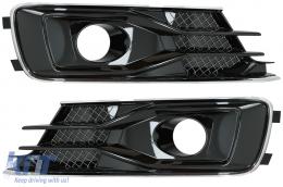 Bumper Lower Side Grilles Covers suitable for AUDI A6 C7 4G Facelift (2015-2018) Black Edition - SGAUA64GFW12