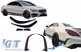 Bumper Splitters Fins Aero Side Vent Canards suitable for Mercedes CLA W117 C117 X117 (2013-2016) CLA45 Design - COCBSPMBW117AMG