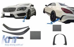 Bumper Splitters Fins Aero Side Vent Canards suitable for Mercedes Benz CLA W117 C117 X117 (2013-2016) CLA45 AMG Design Carbon Film - COFBSPMBW117AMGCFRB