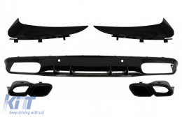 Bumper Valance Diffuser with Rear Bumper Flaps suitable for MERCEDES C-Class C205 A205 Coupe Cabriolet (2014-2019) Facelift C63S Design All Black - CORBSPMBC205AMGRD