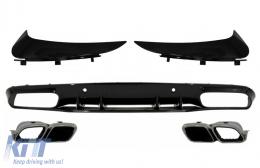 Bumper Valance Diffuser with Rear Bumper Flaps suitable for Mercedes C-Class C205 A205 Coupe Cabriolet (2014-2019) Facelift C63S Design - CORBSPMBC205AMGRDFS