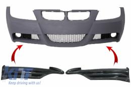 Carbon Front Splitters Spoiler suitable for BMW 3 Series E90 E91 Sedan Touring (2005-2008) only M-tech Bumper - 2643CF