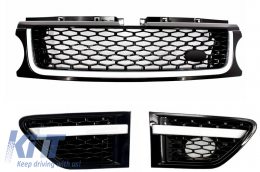 Central Grille and Side Vents Assembly suitable for Land ROVER Range ROVER Sport Facelift (2009-2013) L320 Autobiography Look All Black Edition - RRFGA01FBB