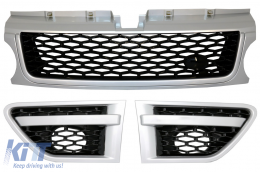 Central Grille and Side Vents Assembly suitable for Land ROVER Range ROVER Sport Facelift (2009-2013) L320 Autobiography Look Grey Silver Edition - RRFGA01FGS