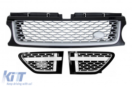 Central Grille and Side Vents Assembly suitable for Land ROVER Range ROVER Sport Facelift (2009-2013) L320 Autobiography Look Black Silver Edition - RRFGA01FBS