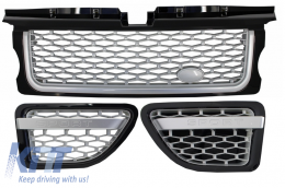 Central Grille and Side Vents Assembly suitable for Land ROVER Range ROVER Sport (2005-2008) L320 Autobiography Look Black Silver Edition - RRFGA01BS