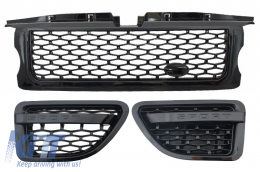 Central Grille and Side Vents Assembly suitable for Land ROVER Range ROVER Sport (2005-2008) L320 Autobiography Look All Black Edition - RRFGA01BBE