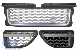 Central Grille and Side Vents Assembly  suitable for Land ROVER Range ROVER Sport (2005-2008) L320 Autobiography Look Silver Edition - RRFGA01S