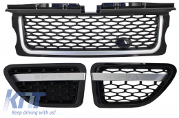 Central Grille and Side Vents Assembly  suitable for Land ROVER Range ROVER Sport (2005-2008) L320 Autobiography Look All Black Edition - RRFGA01BB