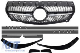 Central Grille Mercedes Benz CLA C117 X117 W117 (2013-2016) Diamond AMG Design with Front Bumper Splitters Fins Aero and Side Sticker Dark Grey - COFGMBW117AMGBSDG