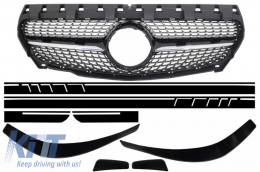 Central Grille Mercedes Benz CLA C117 X117 W117 (2013-2016) Diamond AMG Design with Front Bumper Splitters Fins Aero and Side Sticker Matte Black - COFGMBW117AMGBSDMB